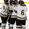 Newburyport:<br /> The Clippers celebrate their second goal against Masconomet on Saturday night at the Graf Rink.<br /> Photo by Bryan Eaton/Newburyport Daily News Saturday, December 20, 2008