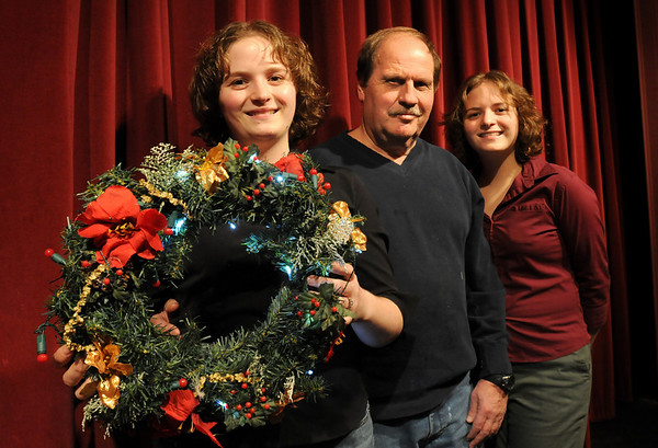 """Amesbury:<br /> Keeping it in the family Kim Gilbert, left,  has taken over as director of """"A Christmas Carol"""" from her father, Alan, pictured with sister Kate. The senior Gilbert is now technical director while Kate is the stage manager for the Amesbury Playhouse production.<br /> Photo by Bryan Eaton/Newburyport Daily News Wednesday, December 03, 2008"""