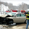 Seabrook:<br /> A two-car head on collision on Centennial Road in Seabrook sent several people to the hospital with minor injuries.<br /> Photo by Angeljean Chiaramida/Newburyport Daily News Wednesday, December 17, 2008