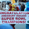 Amesbury:Rudolph, Tigger and Blues carry a banner congradulating  the Amesbury High Football Team at the Amesbury Santa Parade and Tree Lighting Saturday afternoon. photo by Jim Vaiknoras/Newburyport Daily News. Saturday December 6, 2008