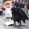 Merrimac:Batman helps Strawberry Shortcake with her hat after it blew off her head in the snow at the annual Merrimac Santa Parade.photo by Jim Vaiknoras/Newburyport Daily News. Sunday December 7, 2008