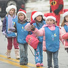 Merrimac:Girls from Groveland Daisies troop 62108 make their way through the snow in the annual Merrimac Santa Parade.photo by Jim Vaiknoras/Newburyport Daily News. Sunday December 7, 2008