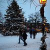 """Newburyport: """"As shoppers rush home with their treasures""""  Market Square is lite by holiday lights relected of this weekends snow.photo by Jim Vaiknoras/Newburyport Daily News.Sunday December 21, 2008"""