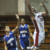 Winthrop:Amesbury's Stephen Serwon scores against Georgetown during their basketball  game Saturday at Winthrop High in the annual Christmas Tournament.photo by Jim Vaiknoras.Newburyport Daily News. Saturday December 27, 2008