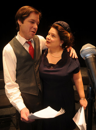 """Byfield: Scott smith as George Bailey and Bonniejean Wilbur as Mary Baily in a rehearsal for Theater in the Open's """"It's a Wonderful Life: A Live Radio Show""""The the Governor's Academy Saturday<br />  Photo by Jim Vaiknoras/Newburyport Daily News. Saturday December 13, 2008"""