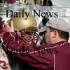 Amesbury: Newburyport captain Dave Freeman, a senior, gets some words of encouragement from coach Ryan McCarthy after losing to Amesbury 22-7 on Thanksgiving Day. Photo by Ben Laing/Newburyport Daily News Thursday November 27, 2008.