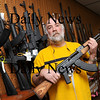 Salisbury:<br /> Bob Bernstein of The Original Bob's Tactical Gun Shop in Salisbury holds an AK-47 semiautomatic rifle which is in limited supply as people are buying weapons fearing President-elect Barack Obama will tighten gun laws. Photo by Bryan Eaton/Newburyport Daily News Friday, November 14, 2008
