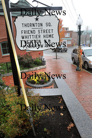 Amesbury:<br /> A new sign was put up in Thornton Square, which has been newly renovated, and is just up from Main Street on Friend Street next to the Newburyport Five Cents Savings Bank. <br /> Photo by Bryan Eaton/Newburyport Daily News Friday, November 07, 2008