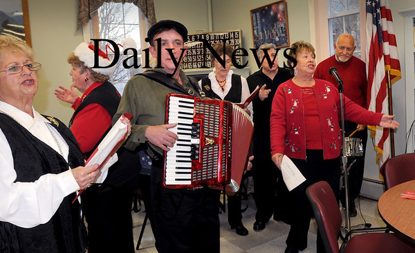 "Amesbury:<br /> The Italian Serenaders perform ""That's Amore"" at the Amesbury Senior Center yesterday afternoon during a Pasta Dinner sponsored by state Representative Michael Costello and state Senator Stephen Baddour.<br /> Photo by Bryan Eaton/Newburyport Daily News Thursday, November 20, 2008"