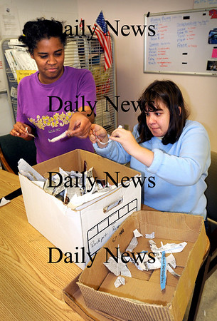 Salisbury:<br /> Lucy Cifre, left, and Allison Mulligan rip up paper for recycling at the Petalworks at Coastal Connections, Inc.<br /> Photo by Bryan Eaton/Newburyport Daily News Tuesday, November 18, 2008