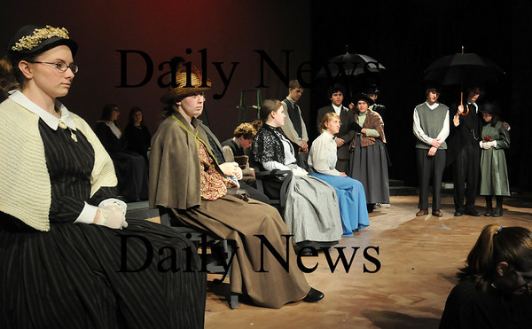 """Newbury:<br /> Students rehearse the funeral scene in the production of """"Our Town"""" at Triton Regional High School.<br /> Photo by Bryan Eaton/Newburyport Daily News Thursday, November 06, 2008"""