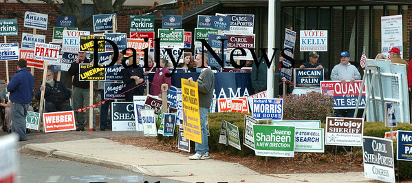Seabrook:<br /> Walls of campaign signs greeted voters in front of and along Route One in front of the Seabrook Recreation Center where citizens cast their votes.<br /> Photo by Bryan Eaton/Newburyport Daily News Tuesday, November 04, 2008
