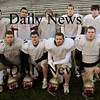 Newburyport:<br /> Newburyport High School football team seniors, back from left, Corey Ruane, Taylor Gomes, Elias Earls, Joe Clancy and Scott Regazzini. Front, from left, Darren Wright, David Freeman, Travis Souther and Pat Reynolds.<br /> Photo by Bryan Eaton/Newburyport Daily News Friday, November 21, 2008