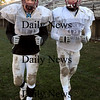 Newburyport:<br /> Newburyport High receivers Kyle LeBlanc, left, and Andrew Sokol.<br /> Photo by Bryan Eaton/Newburyport Daily News Friday, November 21, 2008