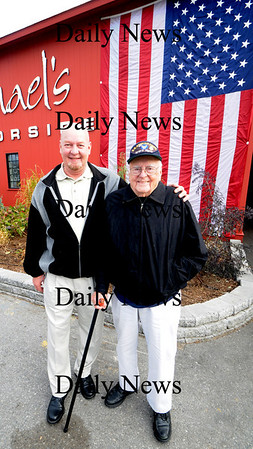 Newburyport:World War 2 Army Air Corp veteran Frank Shepperson and his son Viet nam Airforce veteran Barry Shepperson at  Michael Harborside. The restaurant treated veteran to a meal to thank them for their service. photo by Jim Vaiknoras/Newburyport Daily News. Tuesday November, 11, 2008