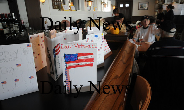 Newburyport:Cards made by students at the Bresnahan School in Newburyport greeted veterans Michael Harborside. The restaurant treated veteran to a meal to thank them for their service. photo by Jim Vaiknoras/Newburyport Daily News. Tuesday November, 11, 2008