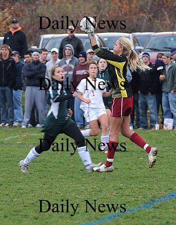 Newburyport: Newburyport's Lindsey Tomasz makes a save against  North Reading Tuesday at Cherry Hill in Newburyport. The Clippers won the game 2-0.photo by Jim Vaiknoras<br /> /Newburyport  Daily News. Sunday November 8, 2008