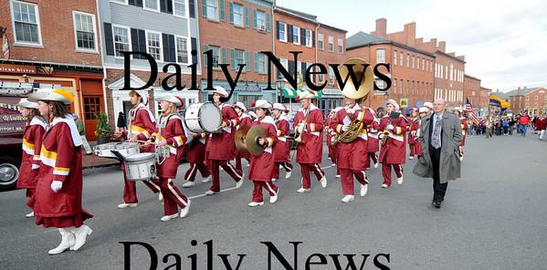 Newburyport: Newburyport Nigh School Marching Band marches up State Street in the annual Veteran's Day parade Tuesday.photo by Jim Vaiknoras/Newburyport  Daily News. Sunday November 8, 2008
