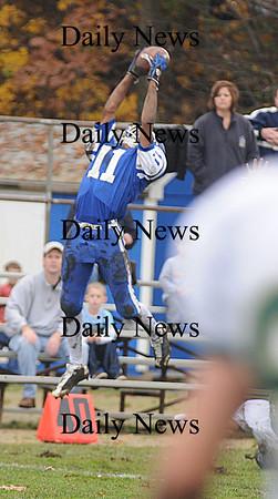Georgetown:Georgetown's Jaymie Spears intercepts a pass against North Reading Saturday at Georgetown.<br /> photo by Jim Vaiknoras/Newburyport Daily News Saturday November 8, 2008