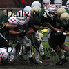 North Reading: Amesbury's Ryan Dragon is stacked up during the Indians  game at North Reading Saturday. photo by Jim Vaiknoras/Newburyport Daily News, Saturday November 15, 2008