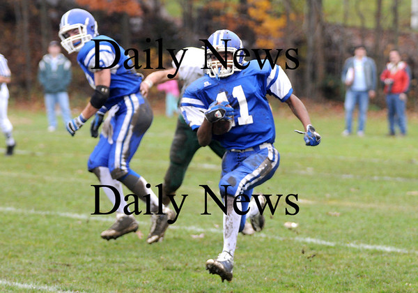 Georgetown:Georgetown's Jaymie Spears returns an interception against North Reading Saturday at Georgetown.<br /> photo by Jim Vaiknoras/Newburyport Daily News Saturday November 8, 2008