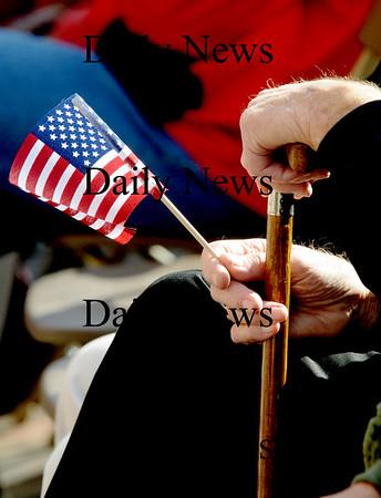 Newburyport: Veteran Ralph Ayes hold a small flag during the  annual Veteran's Day ceremony Tuesday at Newburyport City Hall.photo by Jim Vaiknoras/Newburyport  Daily News. Sunday November 8, 2008