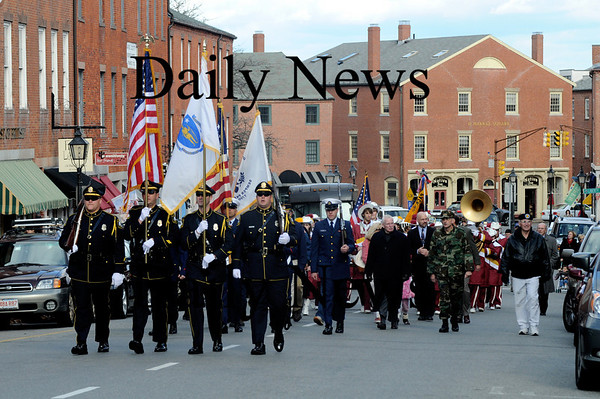 Newburyport:  The annual Veteran's Day parade  marches up State street on it's way to Veteran Cemetary Tuesday .photo by Jim Vaiknoras/Newburyport  Daily News. Sunday November 8, 2008