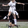 Lynn: Newburyport Taylor Bresnahan heads the ball aqainst Lynnfield at Manning Field in Lynn Thursday night.The Clippers won the game 1-0.photo by Jim Vaiknoras/Newburyport Daily News. Thursday November 13, 2008.