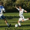 Newburyport:<br /> Methuen's Mosley, left, defends as Newburyport's Thomas Svirsky tries for a shot at the net.<br /> Photo by Bryan Eaton/Newburyport Daily News Thursday, October 30, 2008