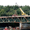 Newburyport: Crews set up cranes and other equipment on the Whittier Bridge along Rt. 95 Wednesday morning. As a result traffic heading northbound was tied up. Photo by Ben Laing/Newburyport Daily News Wednesday September 10, 2008.