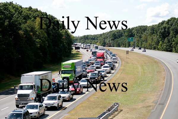 Newburyport: Traffic along Rt. 95 North was backed up for a few miles as a crew was setting up a crane on the Whittier Bridge. Photo by Ben Laing/Newburyport Daily News Wednesday September 10, 2008.