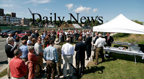 Newburyport: A sizable crowd gathers along the waterfront near the Towle Building to dedicate the site of the new condo complex to long time Towle employee, Bill Griffin. Photo by Ben Laing/Newburyport Daily News Wednesday September 17, 2008.