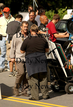 """Merrimac: Mel Gibson finishes up after shooting a scene along River Road in Merrimac for his new movie, """"Edge of Darkness"""". Photo by Ben Laing/Newburyport Daily News Monday September 15, 2008."""