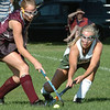 West Newbury:<br /> Newburyport's Rachel Notargiacomo moves in on Pentucket's Lauren Hannigan.<br /> Photo by Bryan Eaton/Newburyport Daily News Wednesday, September 03, 2008