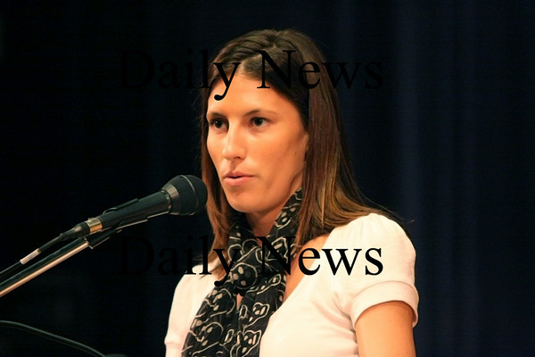 Georgetown: Kelly Pedroia, wife of Red Sox second baseman Dustin Pedroia, speaks to the students at Georgetown Middle School Monday morning about the dangers of melanoma. Kelly had suffered through bouts with the disease as a high school and college student and warned the children about the effects of too much sun. Photo by Ben Laing/Newburyport Daily News Monday September 15, 2008.