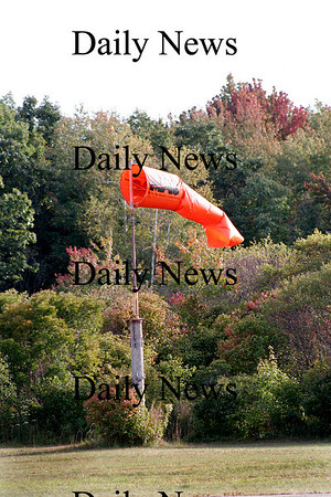 Newbury: This windsock at Plum Island Airport indicates windy weather, and the forcast calls for rain this weekend for the Sails and Trails Festival. Photo by Ben Laing/Newburyport Daily News Thursday Septembe 25, 2008.