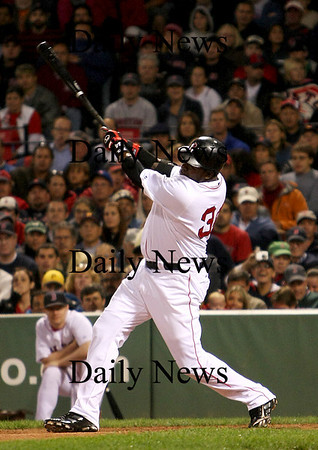 Boston: David Oritiz blasts a solo home run during Monday nights 4-3 loss to the Cleveland Indians at Fenway Park. Photo by Ben Laing/Eagle Tribune Monday September 22, 2008.