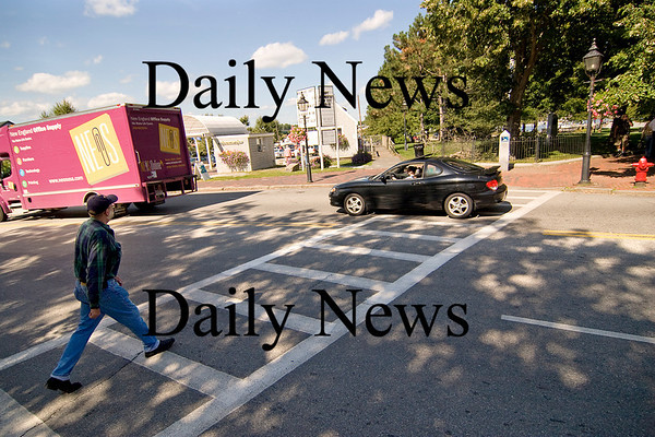 Newburyport: This crosswalk, across from the Information booth on Merrimac Street, was the scene of an accident early Monday morning, involving a car and a woman crossing the street. Photo by Ben Laing/Newburyport Daily News Monday September 8, 2008.