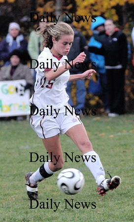 Newburyport: Newburyport's Taylor Bresnahan controls the ball against  North Reading Tuesday at Cherry Hill in Newburyport. The Clippers won the game 2-0.photo by Jim Vaiknoras<br /> /Newburyport  Daily News. Sunday November 8, 2008