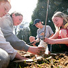 Newburyport: Students from the River Valley Charter School, from left, Lydia Umholtz, Sarah Marino-Babock, Harrison Good, and Annie Moore, help plant a tree on Plummer Ave. in Newburyport. Photo by Ben Laing/Staff Photo