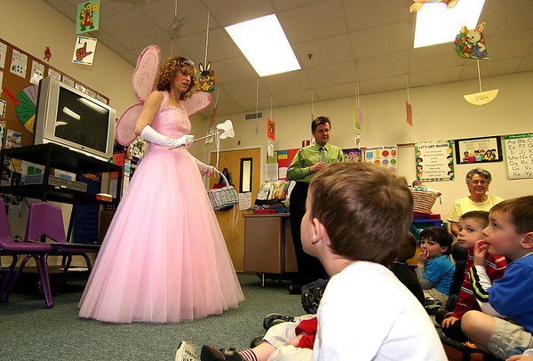Newburyport: The students at Mrs. Murray's Day Care on Hale Street were visited by Dr. James Koglin and his helper, the tooth fairy Friday morning. Dr.  Koglin, a dentist in Newburyport, was there to share some tips on how the kids can keep their teeth healthy. Photo by Ben Laing/Staff Photo