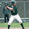 West Newbury: Pentucket's Chris Modlish (2) stands at bat against Manchester-Essex during a rain soaked game in West Newbury. Photo by Ben Laing/Staff Photo