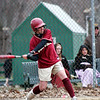 Haverhill: Cassaundra Davis knocks a triple down the first base line in the early part of Wednesday's softball game between Newburyport and Haverhill. Photo by Ben Laing/Staff Photo