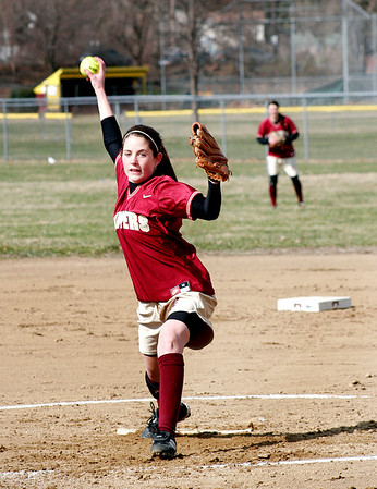 Haverhill: Freshman pitcher Molly Rowe took the mound for the Clippers Wednesday afternoon, as Newburyport traveled to Haverhill to take on the Hilllies. Photo by Ben Laing/Staff Photo