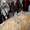 Newburyport:<br /> Members of the Alice Brown Club check out one of the antique wedding dresses in the collection of the Custom House Maritime Museum. From left, Jean Hansen, Peggy Utterback, Sharon Linnea Smith and Cynthia Muir.<br /> Photo by Bryan Eaton/Newburyport Daily News Tuesday, April 21, 2009