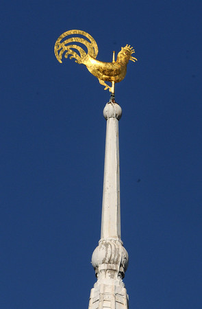 Newbury:<br /> The replica of the weathervane rooster that was sold, was attached atop of the First Parish Church of Newbury yesterday morning. Photo by Bryan Eaton/Newburyport Daily News Tuesday, April 14, 2009