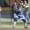 Byfield: Triton first baseman Kristina Spencer has the ball in hand before a North Reading runner makes it to the plate. Bryan Eaton/Staff Photo  Newburyport News  Wednesday April 29, 2009.