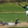West Newbury: Pentucket's Sean Milley makes the play forcing Triton's Brendan O'Neil out at second plate. Bryan Eaton/Staff Photo  Newburyport News  Wednesday April 29, 2009.
