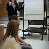 "Newburyport: ""Why drink when we can..."" do something else instead Newburyport High student Rosie Preston, 17, brainstorms with fifth-graders at the Molin School in Newburyport on Wednesday. The Beacon Coalition hosted the Teach-In to teach students the risks of underage alcohol use part of Alcohol Awareness Month which is April."