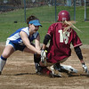 Newburyport:<br /> Georgetown's Amy Cronin tags Newburyport's Lindsey Tomasz out at second base.<br /> Photo by Bryan Eaton/Newburyport Daily News Wednesday, April 22, 2009